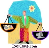 weighing the alternatives Vector Clip Art graphic