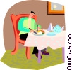 Vector Clip Art picture  of a man eating dinner