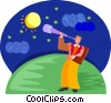 Vector Clipart graphic  of a star gazing; telescope