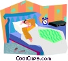 Vector Clip Art graphic  of a man in bed