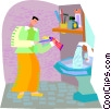 Vector Clip Art picture  of a man brushing teeth