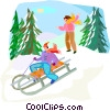 sleigh ride Vector Clipart illustration