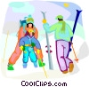Vector Clip Art picture  of a family skiing