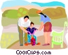 Vector Clipart image  of a summer family scene