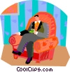 man having tea Vector Clipart graphic