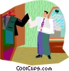 Vector Clip Art graphic  of a man getting dressed