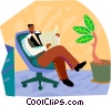 man reading newspaper Vector Clip Art graphic