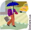Vector Clipart image  of a Man walking in rain