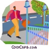 Vector Clipart graphic  of a man walking