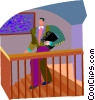 man walking down stairs Vector Clipart illustration