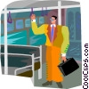 Vector Clip Art image  of a man standing on bus