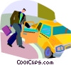 Vector Clip Art image  of a man getting into taxi