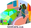 Vector Clip Art image  of a man pumping gas