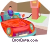 man filling car at gas station Vector Clip Art graphic