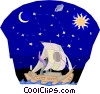 Old navigational knowledge using stars Vector Clipart illustration