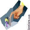 Vector Clipart image  of a big hand opening door for
