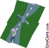 an obstacle in the road Vector Clipart image