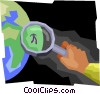 under the magnifying glass Vector Clip Art graphic