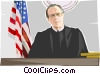 judge, flag Vector Clipart illustration