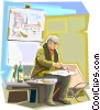 Vector Clip Art image  of an Artist, painting