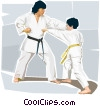Martial arts instructor and student Vector Clip Art graphic