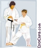 Vector Clip Art graphic  of a Martial arts instructor and