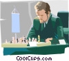 playing chess Vector Clip Art image
