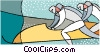 Vector Clipart graphic  of a bobsledding