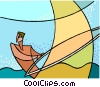 Vector Clip Art graphic  of a windsurfing