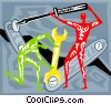 men building Vector Clip Art picture
