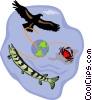 Vector Clip Art picture  of a symbolic ocean scene; fish;