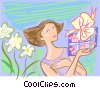 Vector Clip Art graphic  of a woman receiving a gift