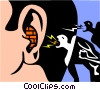 Vector Clip Art picture  of a falling on deaf ears