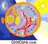 man trying to control time Vector Clip Art picture