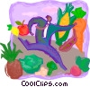 Vector Clip Art graphic  of a garden; vegetables