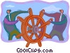 Vector Clip Art graphic  of a symbolic business; steering