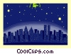 Vector Clipart image  of a city lights at night