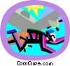 Vector Clipart graphic  of a skydiving