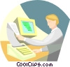 Vector Clip Art image  of a person printing from computer