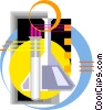 Vector Clip Art graphic  of a Scientific symbol beakers