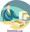 man at work station Vector Clip Art picture