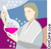woman with beaker Vector Clipart picture