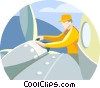 Vector Clip Art graphic  of a man working on submarine