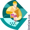 Vector Clip Art image  of a Man working on assembly line