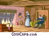 making bread in colonial days Vector Clip Art picture