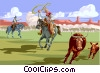 Vector Clipart graphic  of a roping cattle