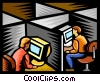 Vector Clip Art graphic  of a work stations with computers