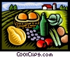 Vector Clip Art image  of a picnic foods in the country