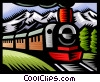 Vector Clip Art graphic  of a Steam train