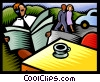 Vector Clipart graphic  of a reading the morning paper